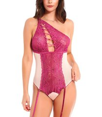 icollection women's asymmetrical lace 1 piece teddy with grommet detail and removable garters
