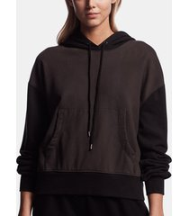 sueded terry two-tone hoodie