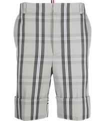 thom browne plaid long shorts with tricolor stripes - grey