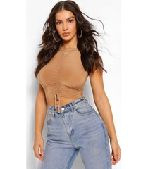 ruched detail crop top, camel