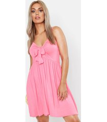 plus strappy knot front swing dress, coral