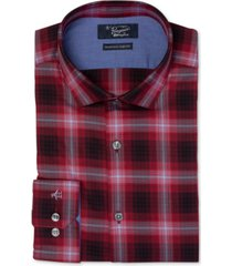 original penguin men's heritage slim-fit comfort stretch plaid dress shirt