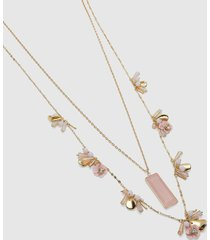 lane bryant women's convertible layered flower & pendant necklace onesz sachet pink