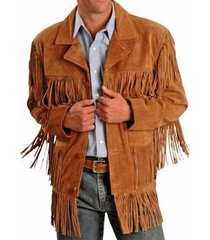 mens traditional leather western wear brown suede leather jacket fringe buttons