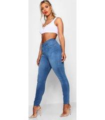plus mid rise 5 pocket skinny jeans, mid blue