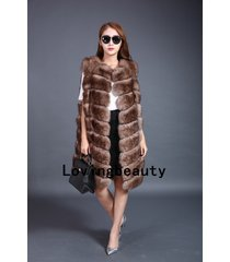 long brown fox fur grid vests winter gilet outerwear waistcoats for women plus