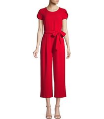 crepe cap sleeve cropped jumpsuit