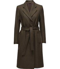 eden belted coat wollen jas lange jas groen filippa k