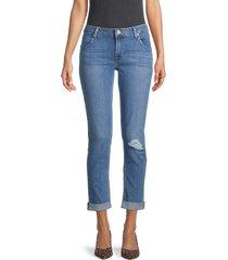 hudson women's ripped crop straight-leg jeans - blue - size 24 (0)