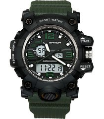 reloj deportivo hombre analogico digital led sanda 742 verde militar