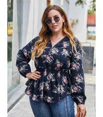 plus talla blusa de manga larga con tira elástica y estampado floral con cuello en v