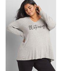 lane bryant women's livi be strong graphic tunic top 14/16 gray
