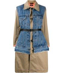 diesel trench coat com recorte de jeans - azul