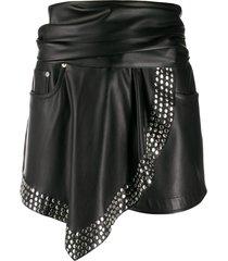 alexander wang faux-leather shorts - black