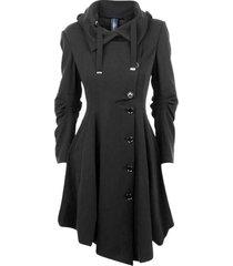 new fashion black coat stand collar long sleeve women overcoat elegant single br