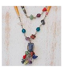 quartz and sodalite long necklace, 'recycling rainbows' (brazil)