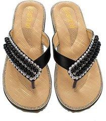 sandalias antideslizantes con clip de cuentas de diamantes de moda para mujer-negro