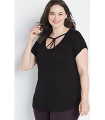 maurices plus size womens 24/7 black strappy dolman sleeve tee