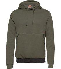 urban tech overhead hood hoodie trui groen superdry