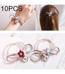 10 pcs dulce estilo de la flor de goma elastica banda de pelo anillo color al azar entrega