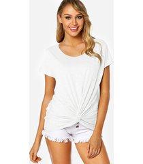 blanco redondo cuello nudo diseño camiseta con bolsillo en el pecho