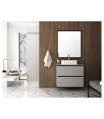 conjunto banheiro 80 cm argento e preto em mdf lilies móveis