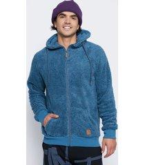 chaqueta peluda gruesa con gorro azul family shop
