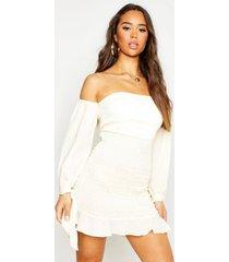 shirred long sleeve crinkle bodycon mini dress, ecru