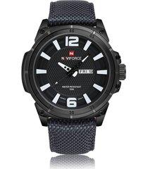 reloj hombre casual deportivo nylon naviforce 9066 negro blanco