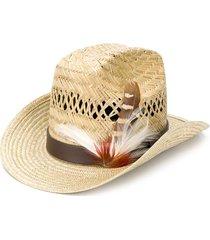 saint laurent feather-embellished cowboy hat - neutrals