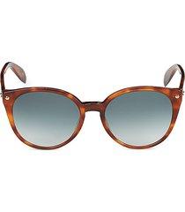 alexander mcqueen women's faux tortoiseshell 55mm cat eye sunglasses - light brown