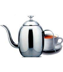 mini bule em inox com bico fino e longo para café, leite 400ml - tricae