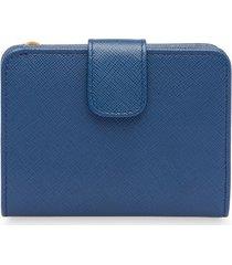 prada saffiano leather bifold wallet - blue