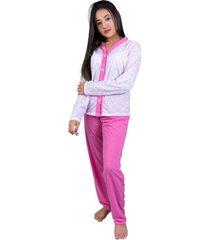 pijama nj mix botão amamentação pós parto multicolorido