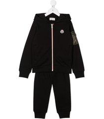moncler enfant hooded logo tracksuit set - black