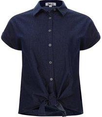 camisa unicolor con amarre color azul, talla 12