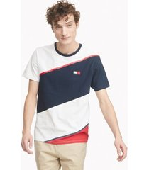 tommy hilfiger men's essential diagonal stripe t-shirt bright white / navy blazer/apple red - xs