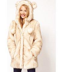 cute double cap ear ball two-color wool-colored long fur coat long coat