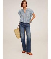 blouse met ruchesmouwen