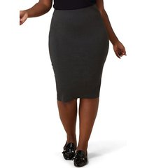 plus size women's maree pour toi compression knit pencil skirt, size 12w - grey