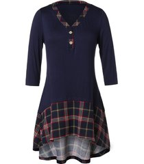 plus size checked panel high low t shirt