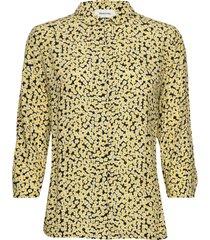 berta print shirt blouse lange mouwen geel modström