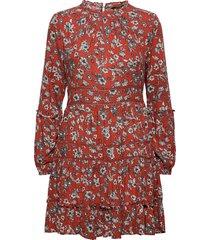 richelle ls dress knälång klänning röd superdry