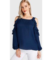 blusa de manga larga con hombros descubiertos y volante azul marino
