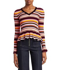cinq à sept women's zana striped peplum sweater - kumquat multi - size l