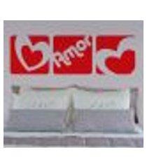 adesivo de parede cabeceira amor e coração em quadros 7 - grande
