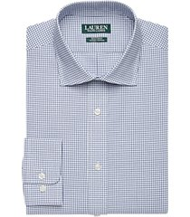 lauren by ralph lauren blue mini plaid regular fit dress shirt