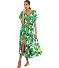 banana leaves print long dress
