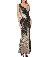 leaf motif soutache sheath gown