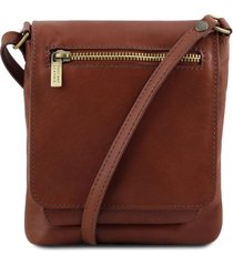 tuscany leather tl141510 sasha - borsello unisex in pelle morbida marrone